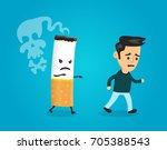 cigarette runs over man guy.... | Shutterstock . vector #705388543