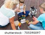 robotics class in summer in the ... | Shutterstock . vector #705390097