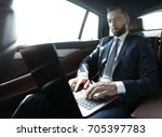 businessman sitting in the back ... | Shutterstock . vector #705397783
