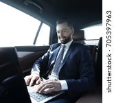 businessman sitting in the back ...   Shutterstock . vector #705397963