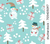 seamless pattern with a snowman ...   Shutterstock .eps vector #705405097