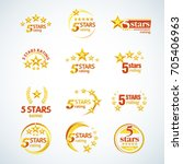 golden five stars round logo... | Shutterstock .eps vector #705406963