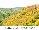 Small photo of Allegheny mountains in West Virginia autumn with red and golden trees