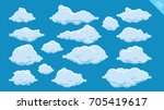Set of cartoon clouds on a blue background | Shutterstock vector #705419617