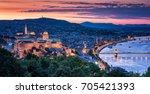 sunset over budapest  hungary | Shutterstock . vector #705421393