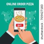e commerce concept  order food... | Shutterstock .eps vector #705427183