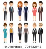 characters flat office workers. ... | Shutterstock . vector #705432943