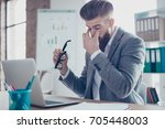 tired and overworked stylish... | Shutterstock . vector #705448003