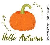 pumpkin hand drawn illustration.... | Shutterstock .eps vector #705448393