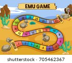 boardgame template with emu in...
