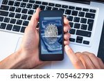 fingerprint scanning on... | Shutterstock . vector #705462793