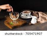 tiramisu  traditional italian...   Shutterstock . vector #705471907