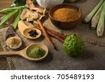 thai herbs and spa massage ... | Shutterstock . vector #705489193