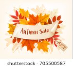 autumn sales card with colorful ... | Shutterstock .eps vector #705500587