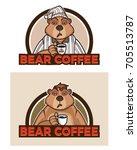 bear coffee cartoon logo   Shutterstock .eps vector #705513787