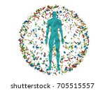 male body man surrounded by... | Shutterstock . vector #705515557