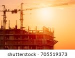 crane construction equipment... | Shutterstock . vector #705519373
