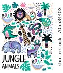 jungle animals set in childish... | Shutterstock .eps vector #705534403