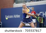 Small photo of New York, NY USA - August 29, 2017: Jelena Ostapenko of Latvia returns ball during match against Lara Arruabarrena os Spain at US Open Championships at Billie Jean King National Tennis Center