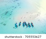 long tail boats at sand bar... | Shutterstock . vector #705553627