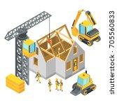 building under construction.... | Shutterstock .eps vector #705560833