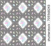 pattern with unicorn. vector... | Shutterstock .eps vector #705568243