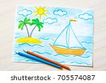 colored pencils drawing ... | Shutterstock . vector #705574087