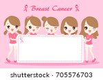 woman with breast cancer... | Shutterstock .eps vector #705576703