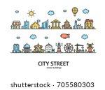 city street house building... | Shutterstock .eps vector #705580303
