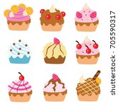 variations of delicious... | Shutterstock .eps vector #705590317