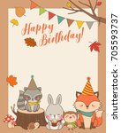 Stock vector cute woodland cartoon animals illustration with copy space for birthday card template 705593737