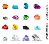 natural gemstones  metals and... | Shutterstock .eps vector #705598873