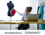 young professional fashion... | Shutterstock . vector #705604837