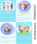 happy grandparents day set of... | Shutterstock .eps vector #705605167