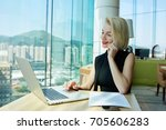 smiling charming businesswoman... | Shutterstock . vector #705606283
