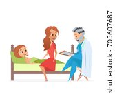 the girl was sick with... | Shutterstock .eps vector #705607687