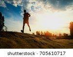 jogging on nature jogging... | Shutterstock . vector #705610717