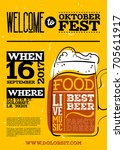 welcome to oktoberfest poster.... | Shutterstock .eps vector #705611917