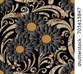 floral seamless pattern. black... | Shutterstock .eps vector #705615847