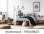 braided pouf on white round... | Shutterstock . vector #705618823