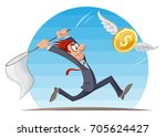 funny man in suit trying to... | Shutterstock .eps vector #705624427