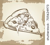 hand sketched pizza on vintage