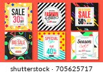 set of six different sale and... | Shutterstock .eps vector #705625717