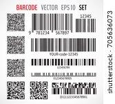 set of various bar codes  qr... | Shutterstock .eps vector #705636073