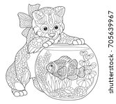 Coloring Page Of Kitten Playin...