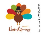 happy thanksgiving day card... | Shutterstock .eps vector #705648793