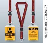 business press pass id card... | Shutterstock .eps vector #705650107