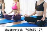 women practicing yoga pose in... | Shutterstock . vector #705651427