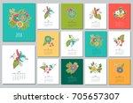floral gentle calendar 2018.... | Shutterstock .eps vector #705657307