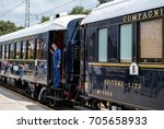 Small photo of Ruse city, Bulgaria - August 29, 2017. The legendary Venice Simplon Orient Express is ready to depart from Ruse Railway station. Chief wagon. The luxury train travels between Paris and Istanbul.